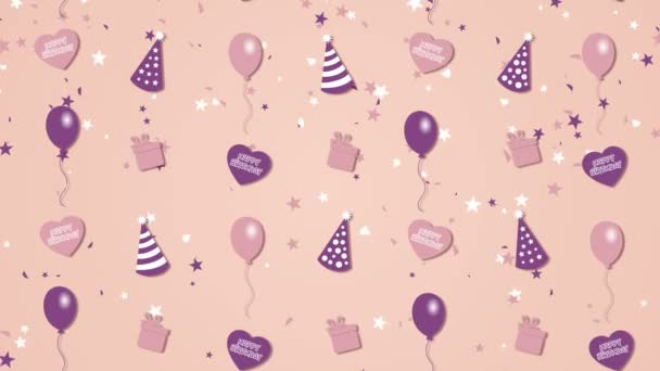 Abstraktní pozadí Happy Birthday s balónky, klobouky a srdce