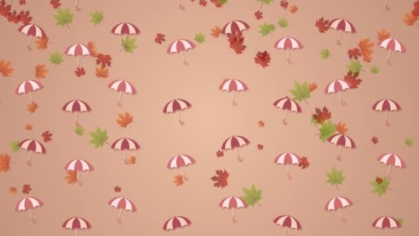 Herbst Hintergrund mit Regenschirmen und fallenden Blättern