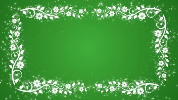 abstrakte grüne Hintergrund mit Blumenrahmen und glühenden Partikeln