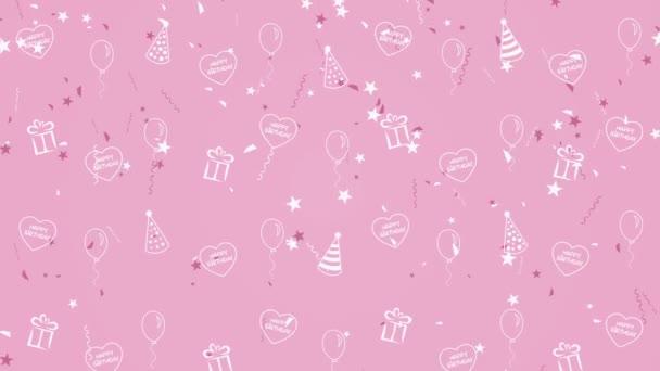 Absztrakt háttér boldog születésnapot lufi, party kalap és a szív