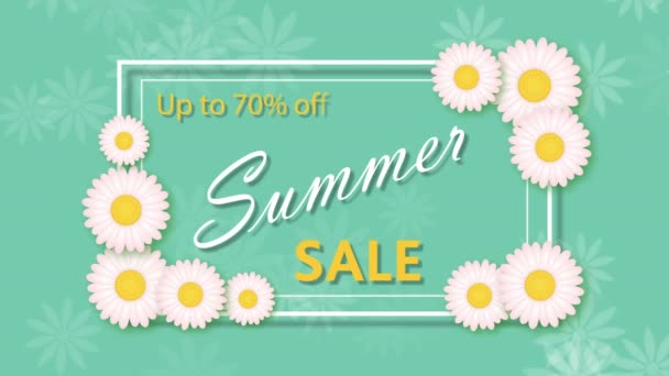 Summer sale, discount seventy percent with frame and flowers