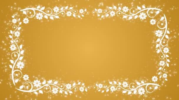 Abstraktní pozadí žluté s květinou rám a zářící částice