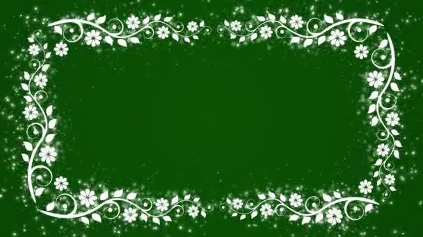 Abstraktní pozadí zelené s květinou rám a zářící částice