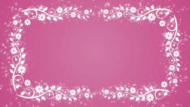 Abstraktní růžové pozadí s květinou rám a zářící částice