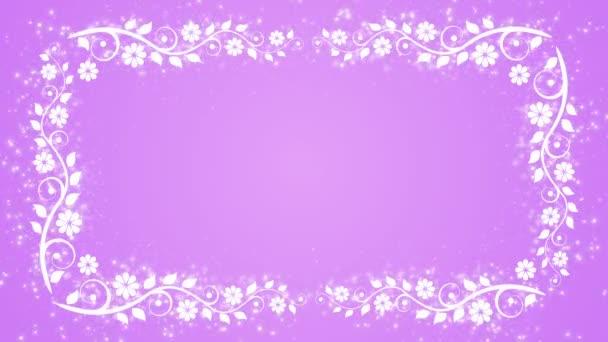 Abstraktní pozadí fialová s květinou rám a zářící částice