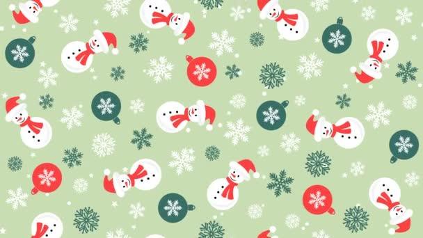 Karácsonyi háttér minta hóember, hópelyhek és karácsonyi labdák