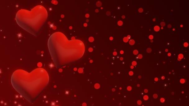 Vznášející se srdce na tmavě červeném pozadí