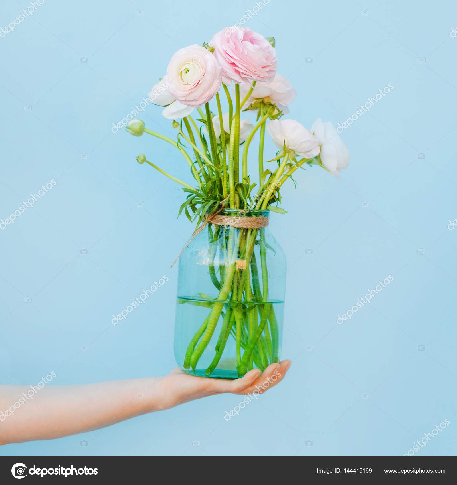 Flowers To Gift Beautiful Ranunculus In Female Hands Spring Time