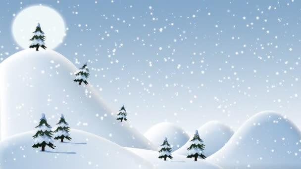 Vánoční zasněžené kopce s den stromů