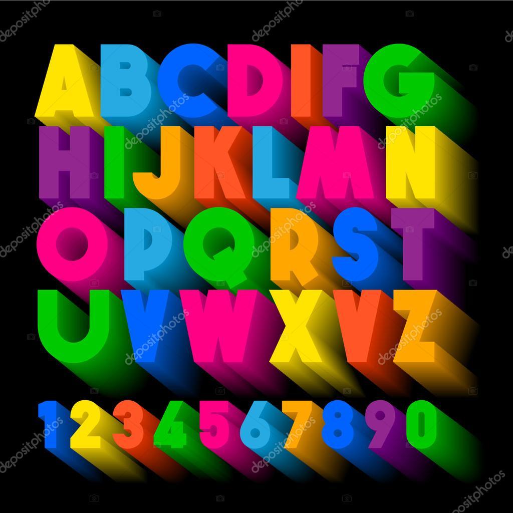 tipografía 3D. Alfabeto de extrusión de color. Letras de cartel ...