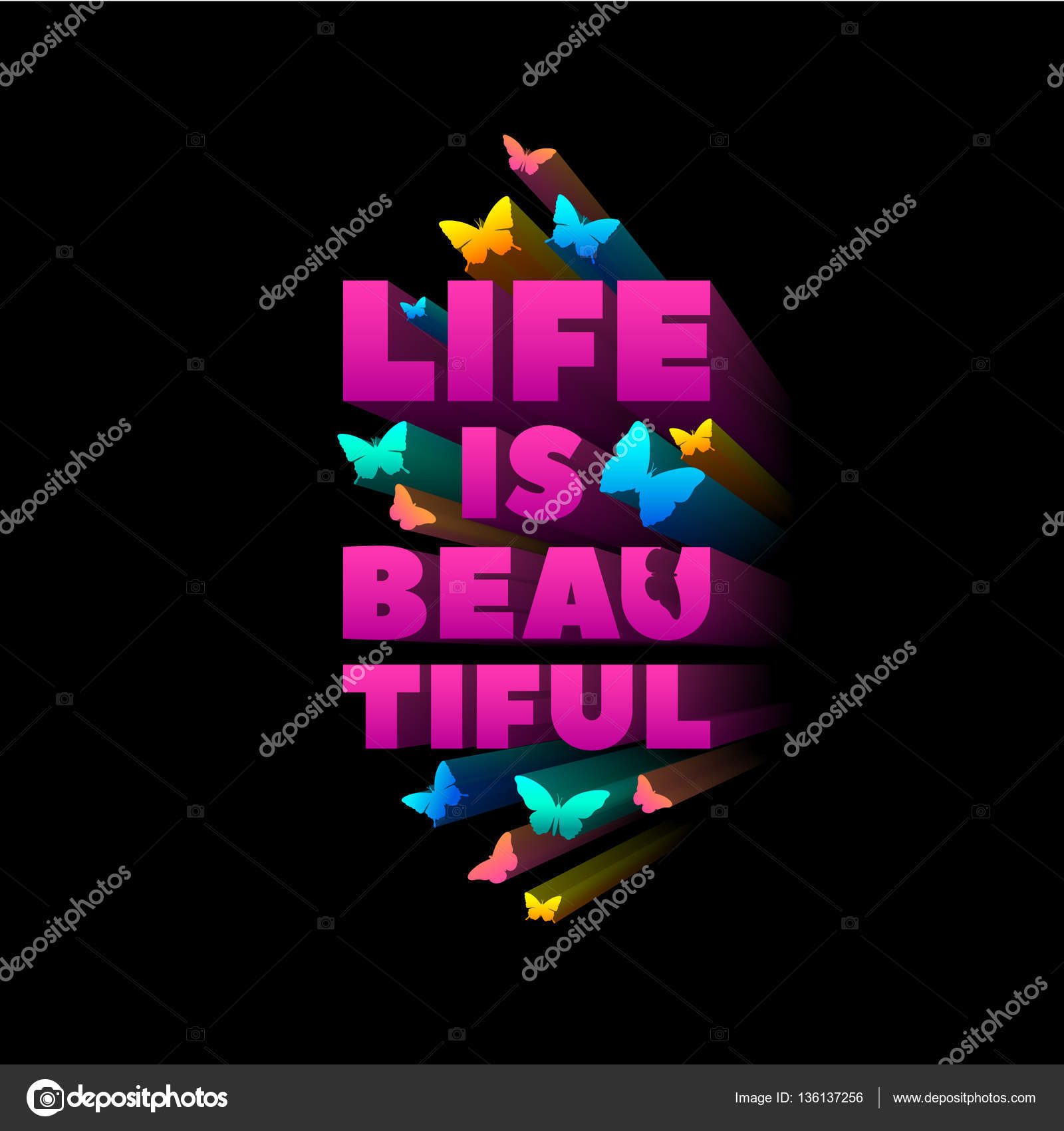 Life Is Beautiful Quote For T Shirt Print Extruded Colored Letters