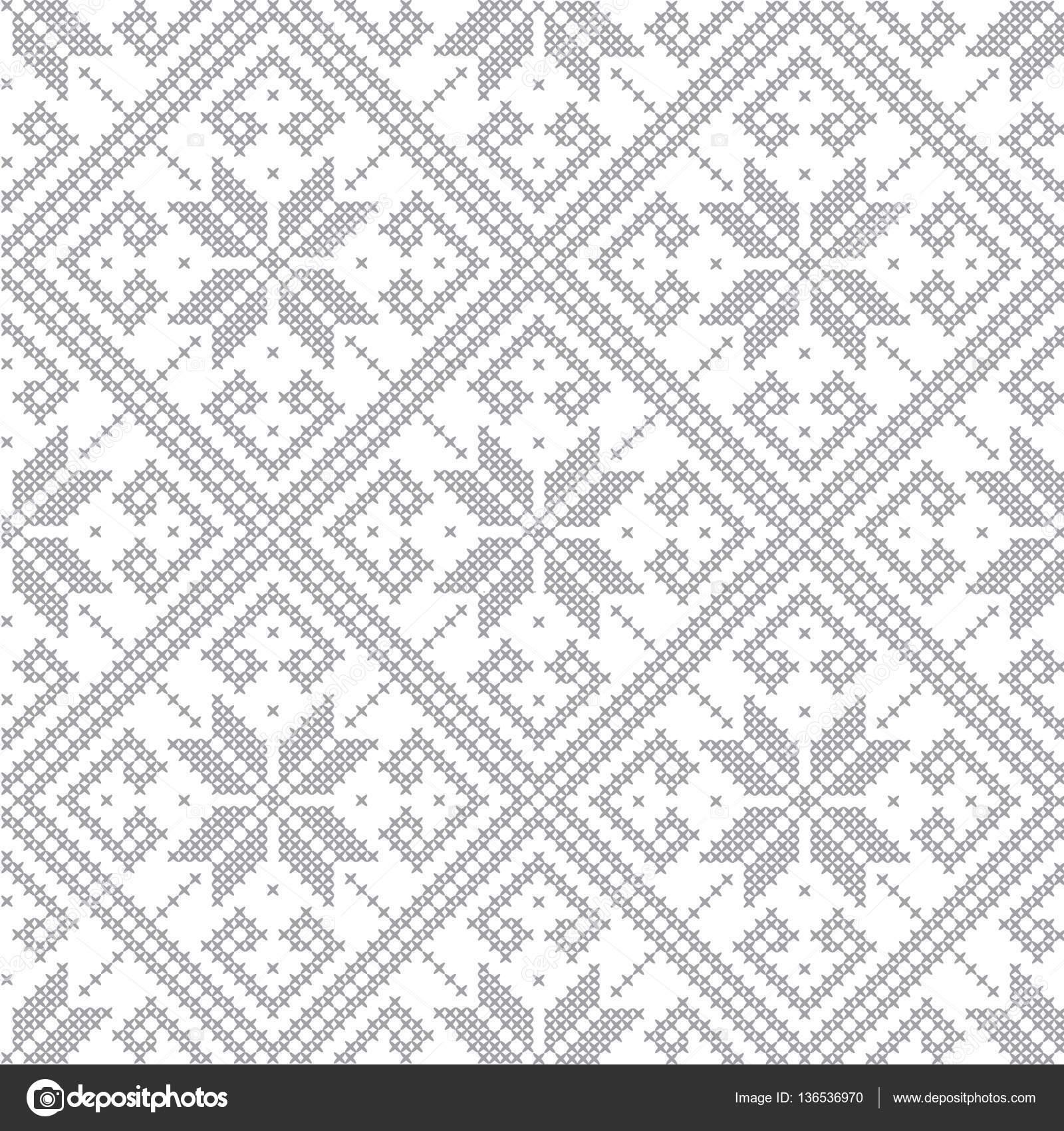 Punto gris monocromática de patrones sin fisuras. Punto de Cruz ...