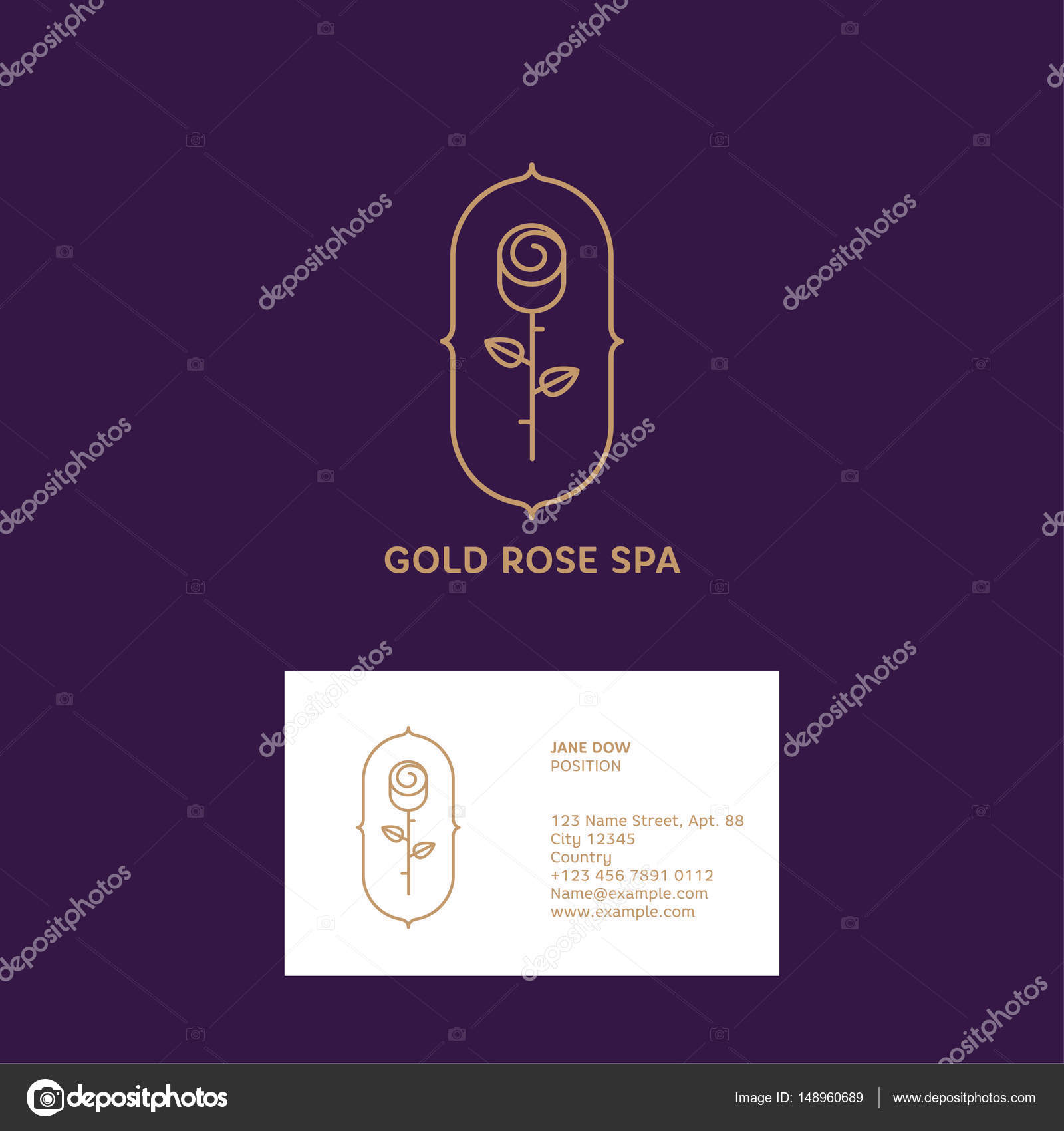 Or Rose Logo Et Carte De Visite Embleme Parfumerie Ou Spa Illustration Stock