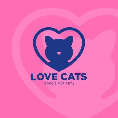 Goods for pets emblem. Vet clinic logo.