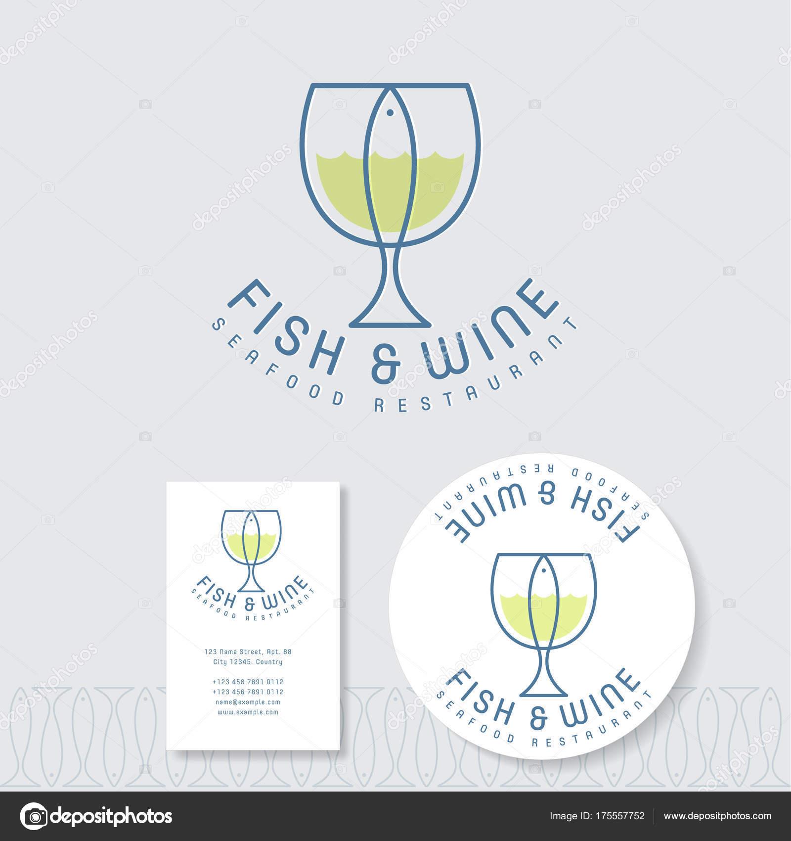 Logo Plat Poisson Et Le Vin Emblme De Restaurant Fruits Mer Un Verre Avec Des Lettres Sur Fond Blanc Identit Carte Visite