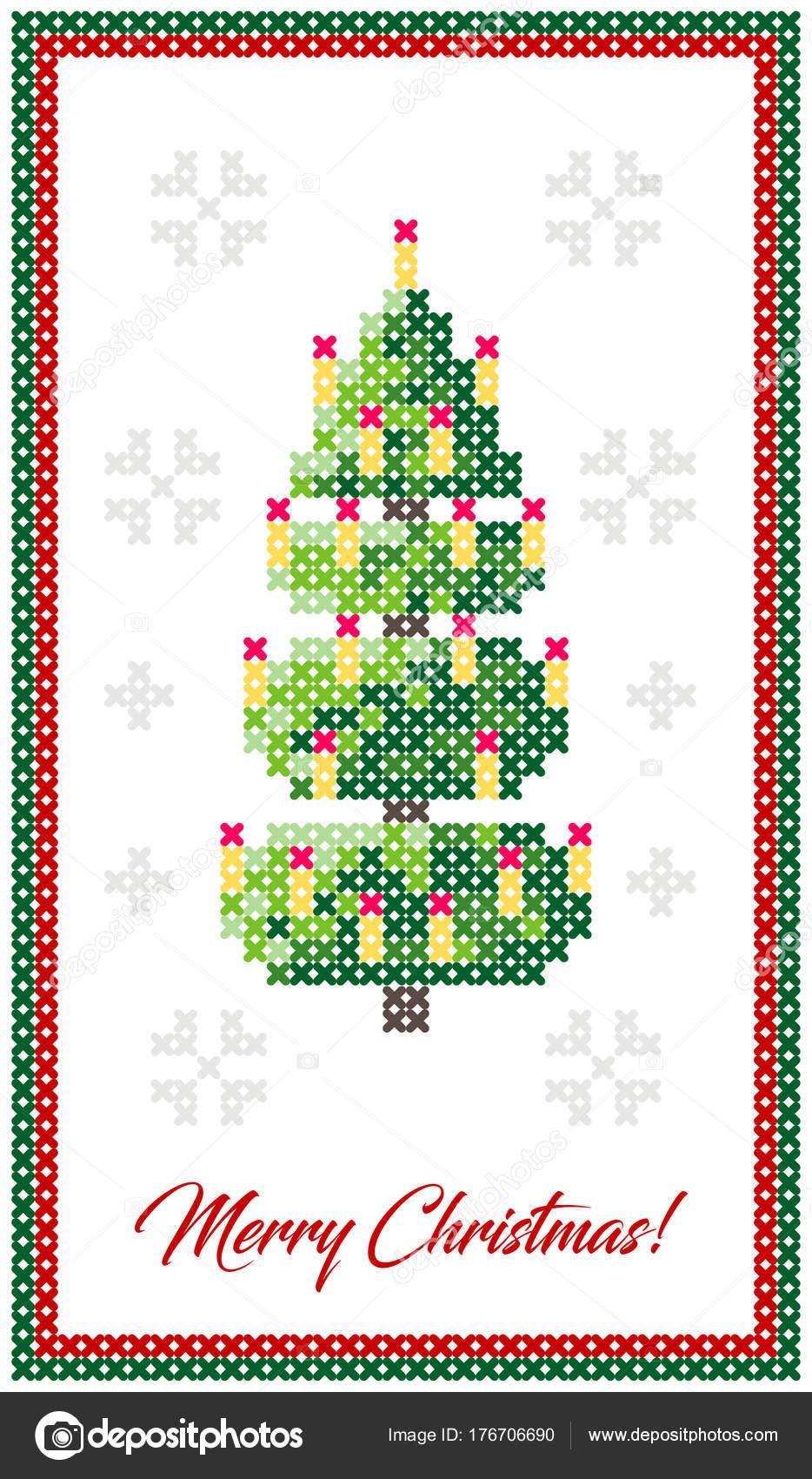 Feliz Tarjeta Felicitación Navidad Feliz Año Nuevo Ilustración Árbol ...