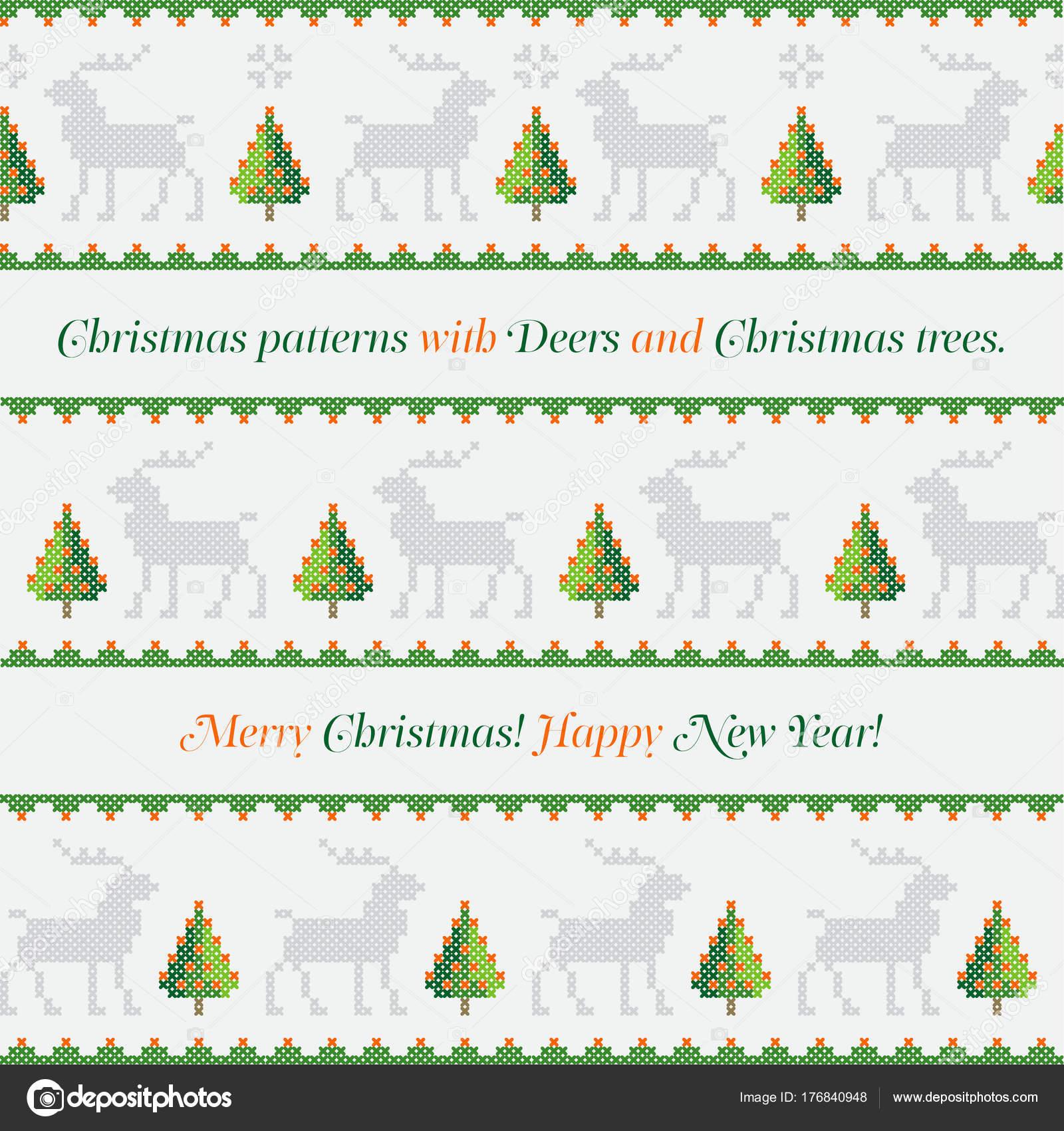Feliz navidad punto de cruz   Año Nuevo Patrón Árboles Navidad ...
