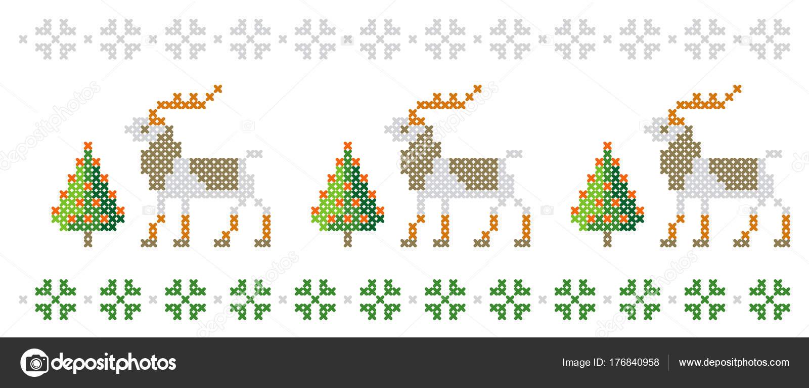 Año Nuevo Patrón Árboles Navidad Ciervos Copos Nieve Feliz Navidad ...
