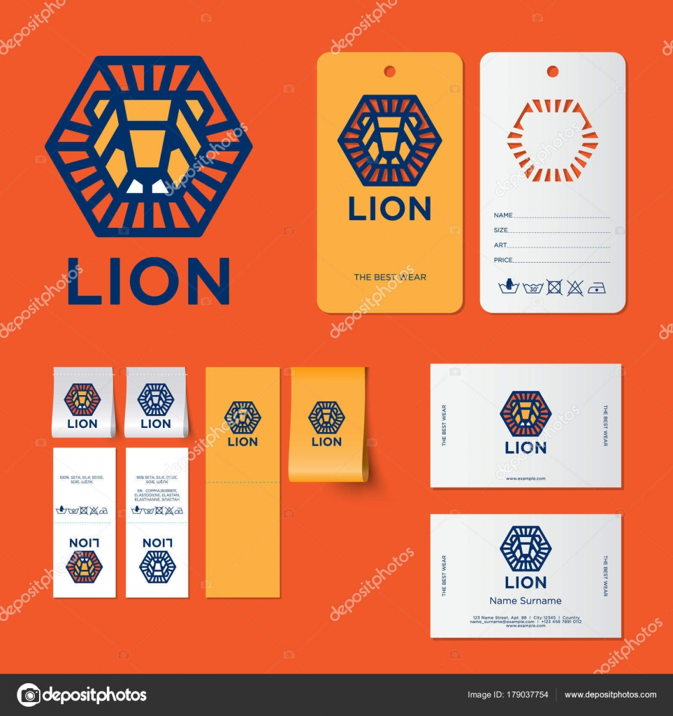 Lion Logo Kids Wear Emblems Letters Head Lion Hexagon Identity ...