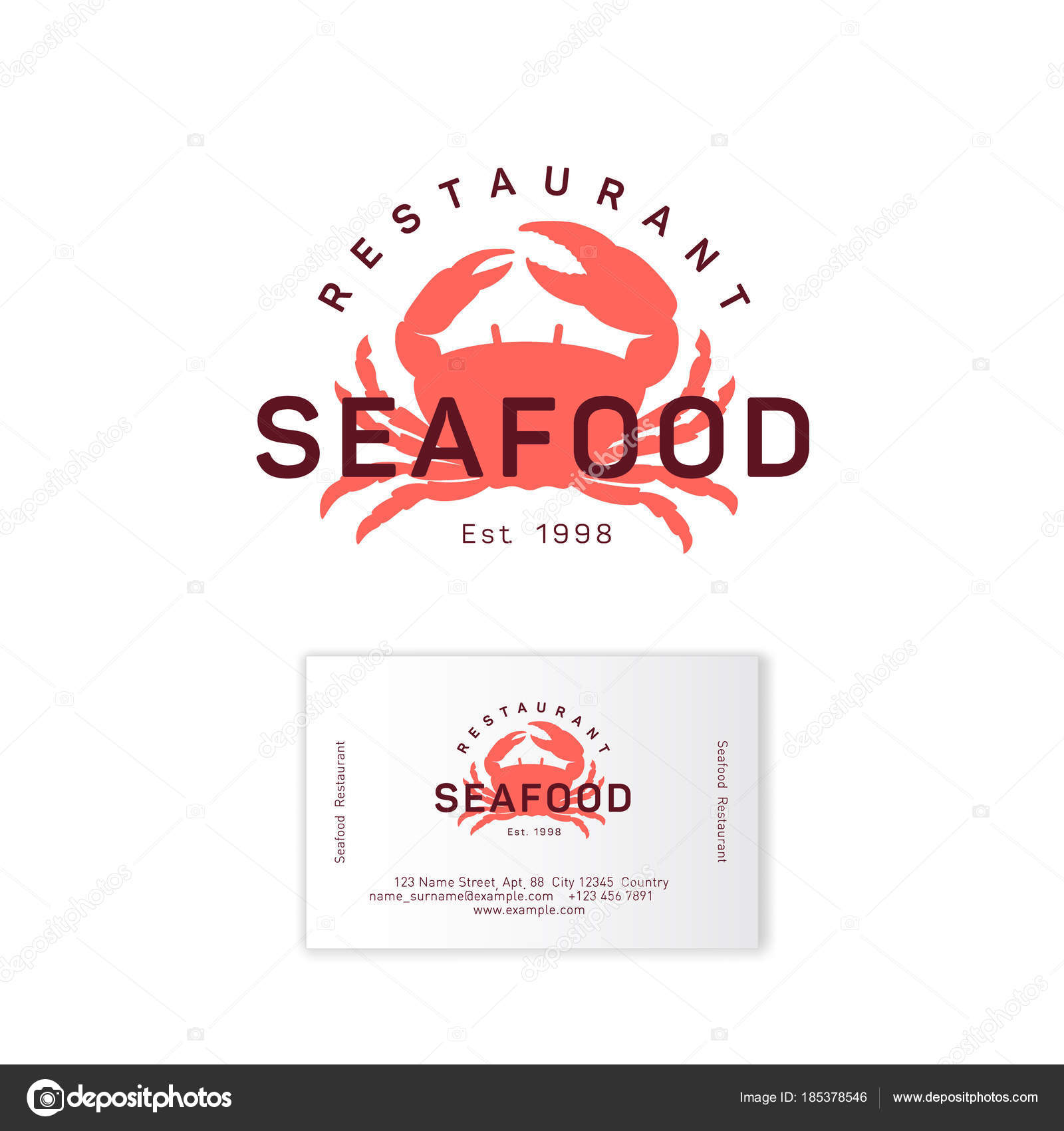 Seafood restaurant logo red crab silhouette emblem identity business seafood restaurant logo red crab silhouette emblem identity business card stock vector reheart Gallery