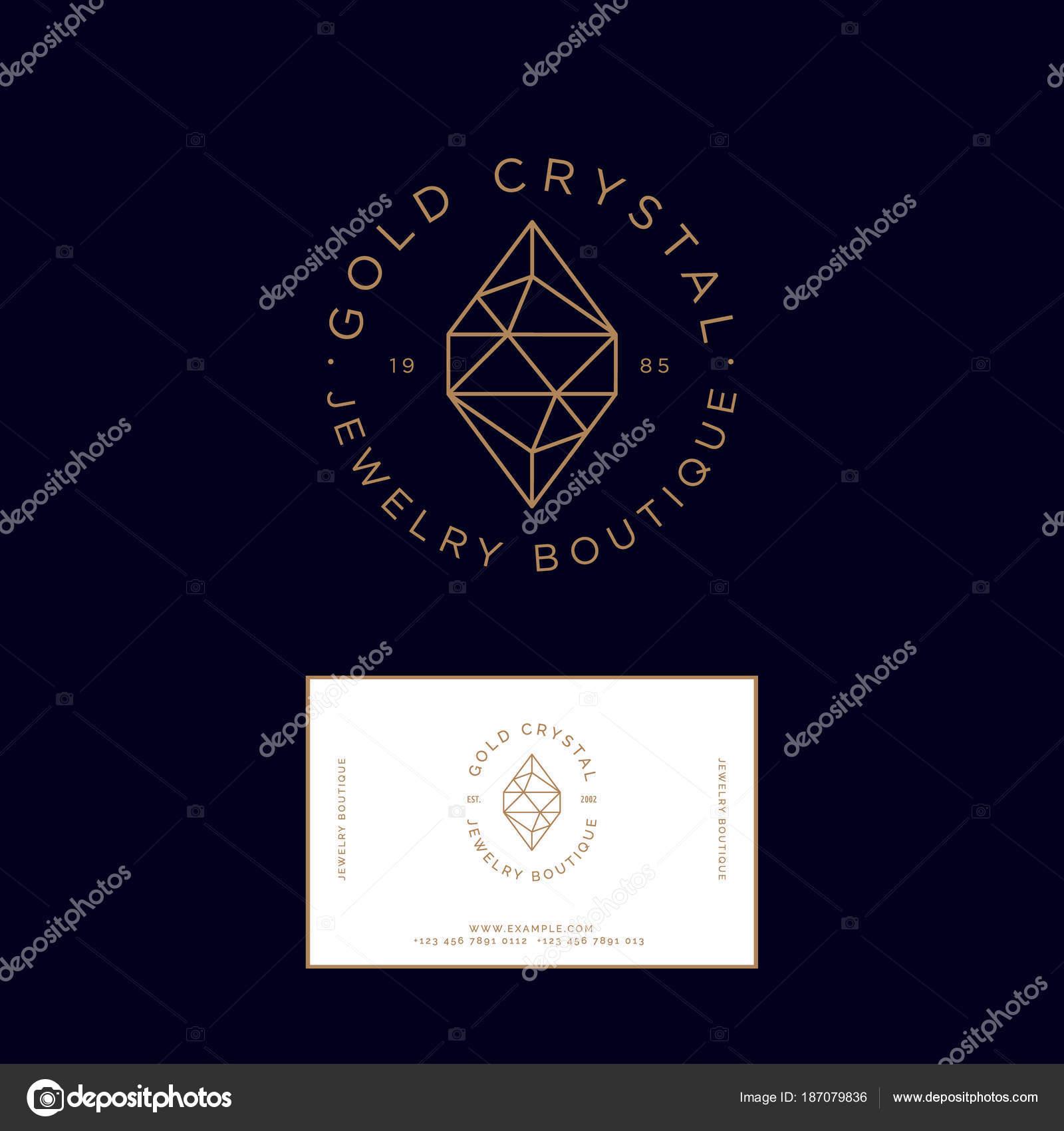 Logo Cristal Dor Identit Carte Visite Emblme Joaillerie Bijouterie Image Vectorielle