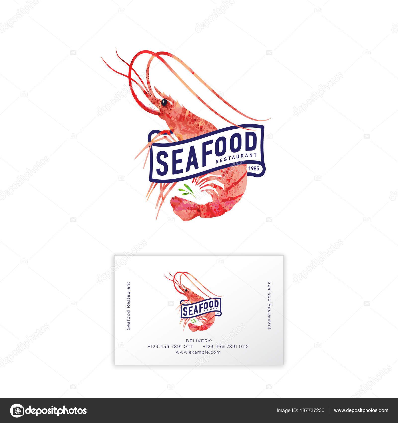Meeresfrüchte Restaurant Logo Rote Garnele Aquarell