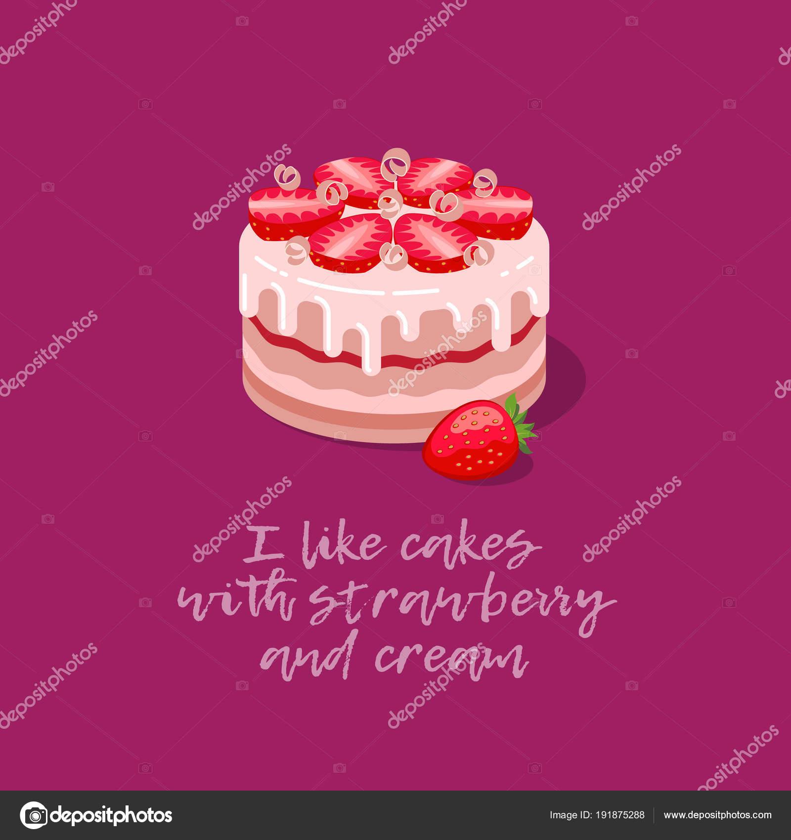 Kuchen Abbildung Eine Schöne Torte Mit Erdbeeren Sahne Sirup Kuchen U2014  Stockvektor