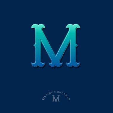 M monogram. Blue-green gradient M letters initial. Typography. Lettering design.