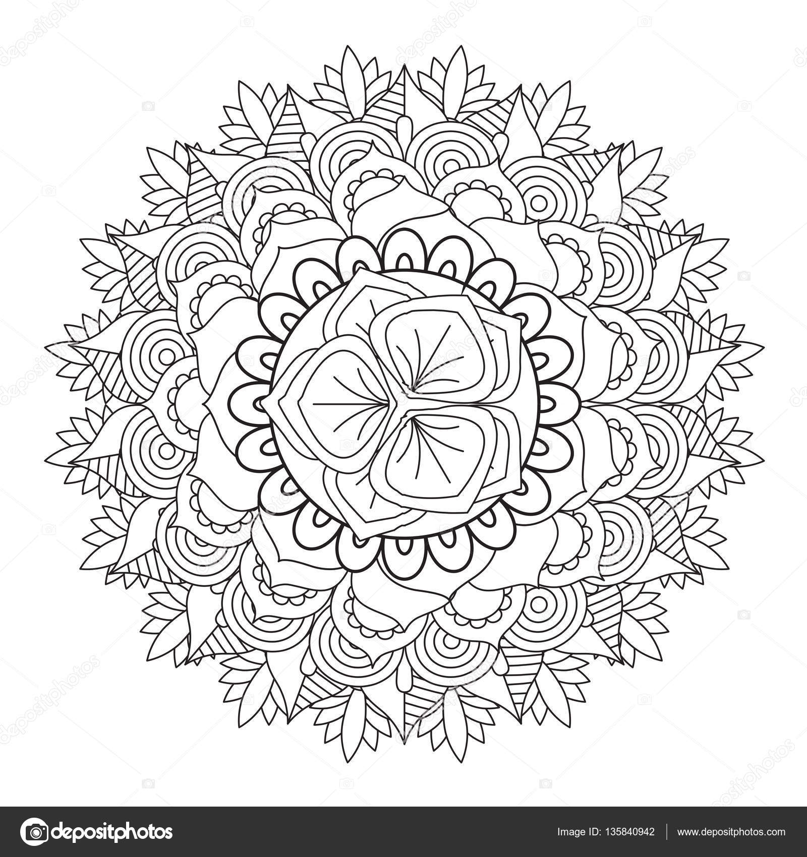 Outline Mandala For Coloring Book Decorative Round Ornament