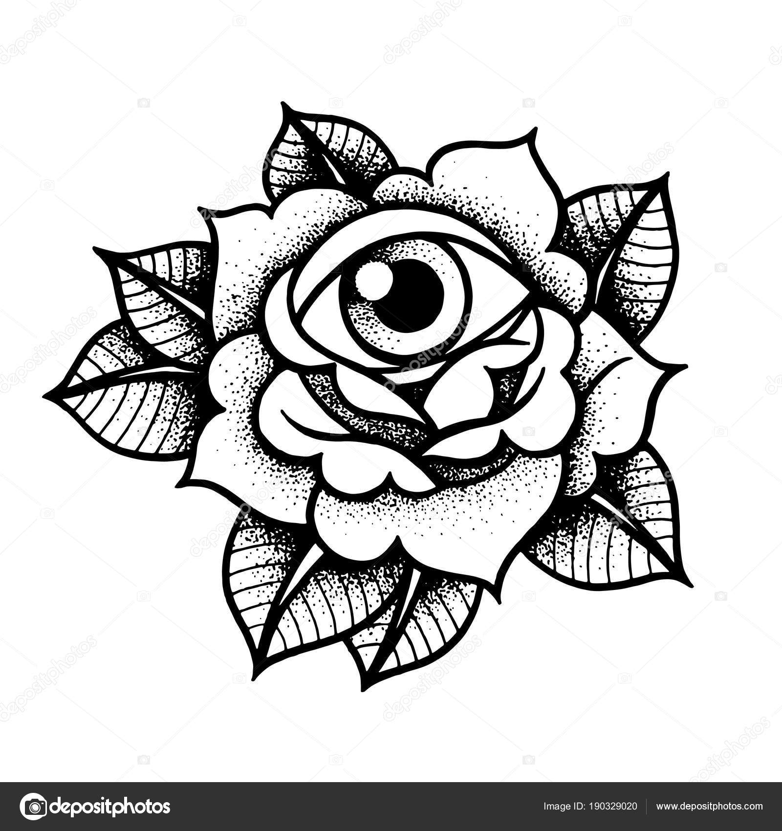 Old School Rose Tattoo Met Oog Stockvector Kalitakatsiaryna