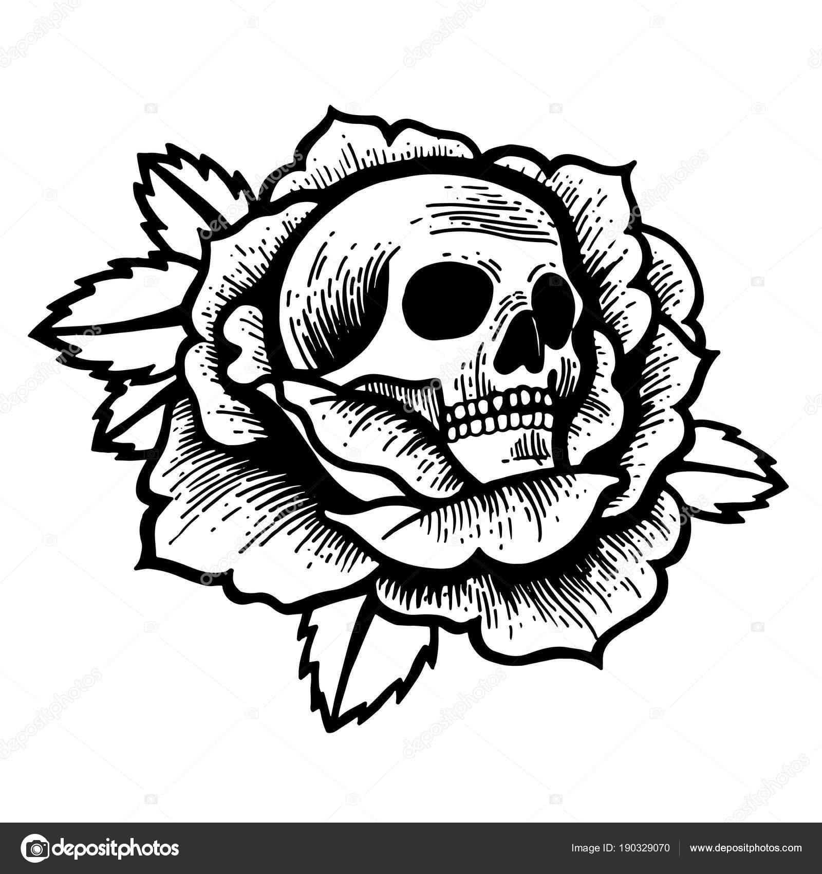 Vieja Escuela Rosa Del Tatuaje Del Cráneo Vector De Stock Kalita