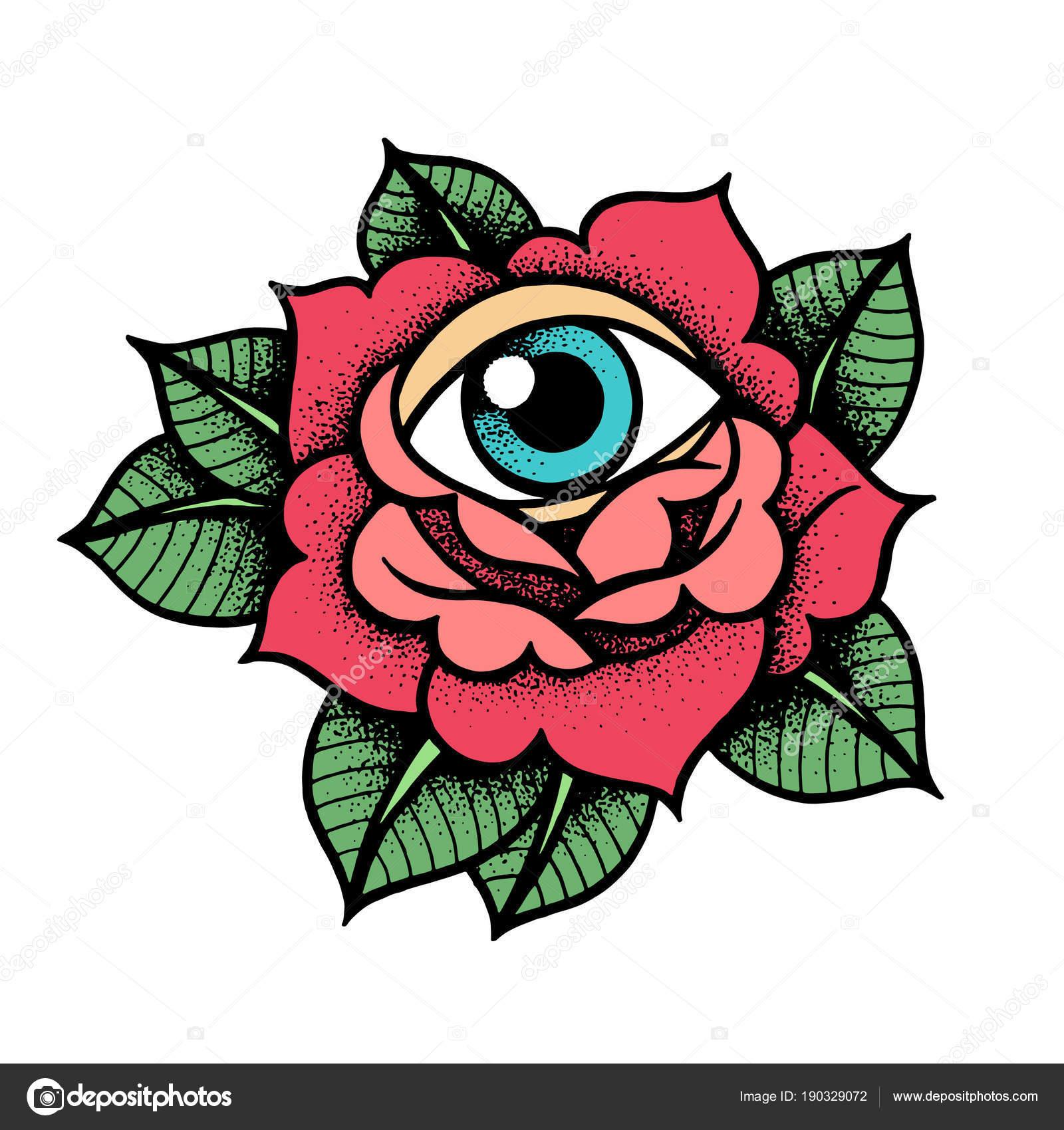 Old School Rose Tattoo Met Oog Stockvector Kalitakatsiaryna