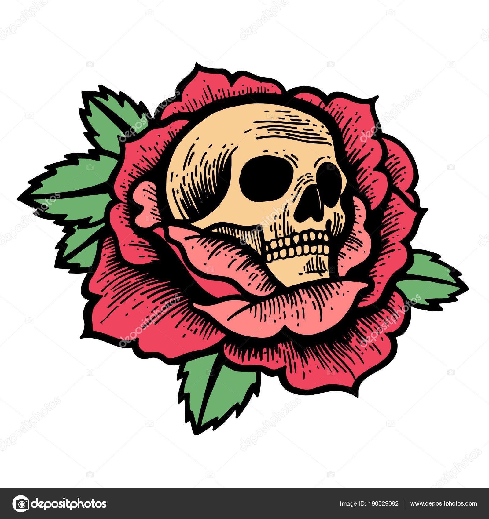 Old School Rose Tattoo With Skull Stock Vector Kalitakatsiaryna