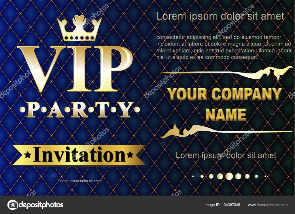 VIP party premium invitation cards posters flyers. Black and golden ...