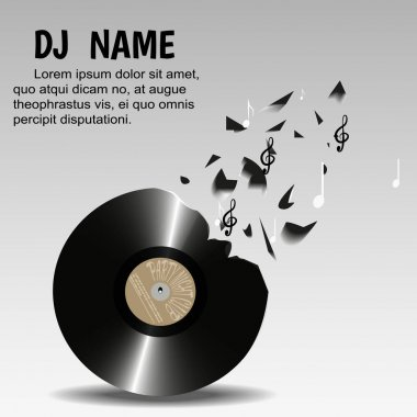 Vinyl breaks into pieces and notes,on a light background. Designed for flyers, invitations, advertising poster night club, or a DJ.