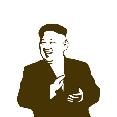 North Korea Chairman Kim Jong-un isolated on white background.