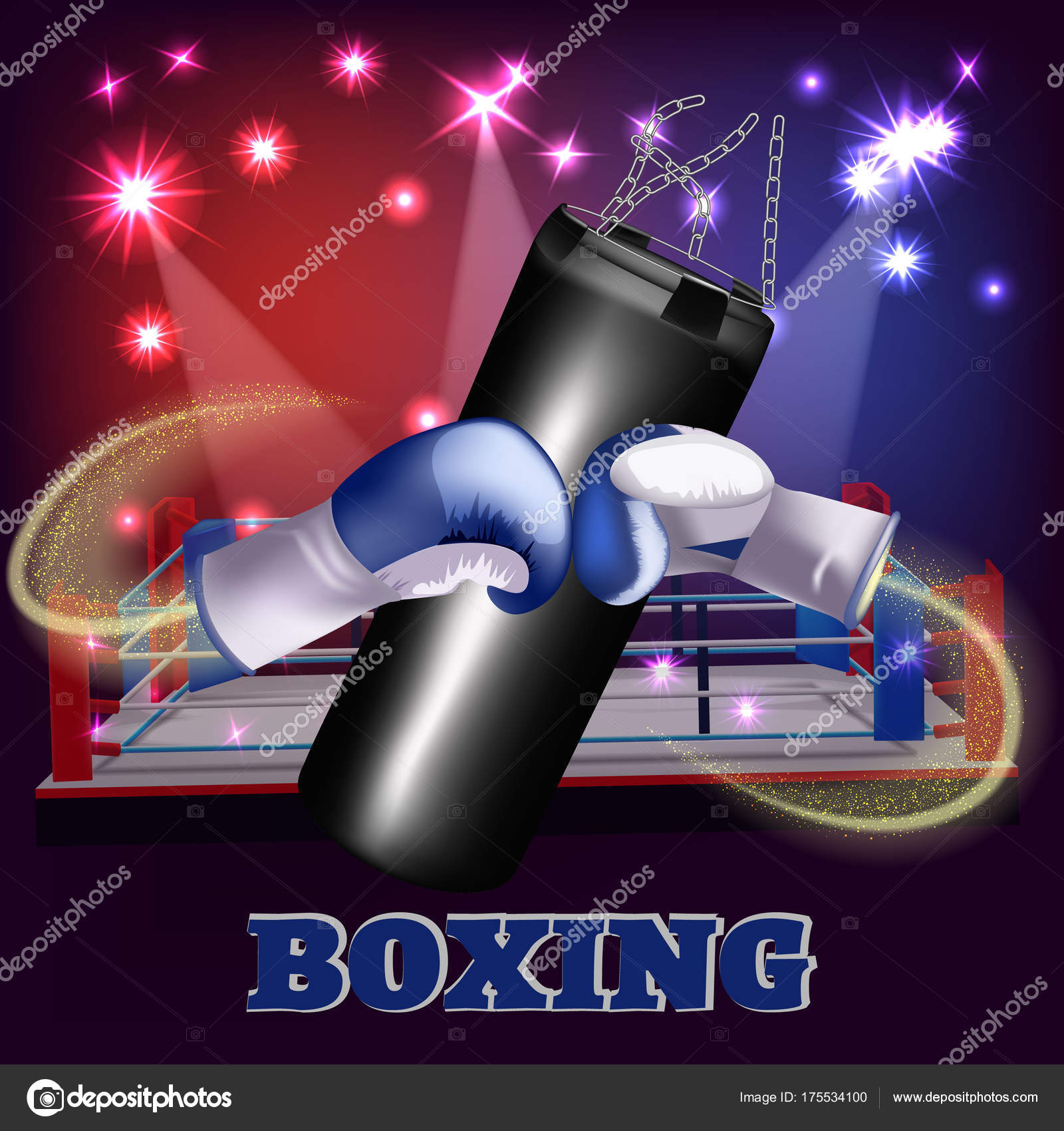 boxing poster advertising template punching bag with boxing gloves