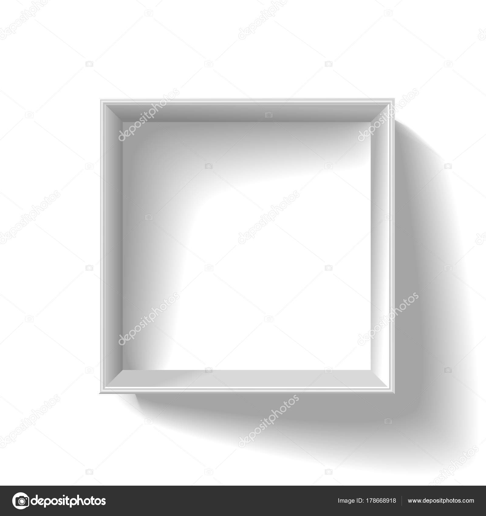 Blanco caja de cartón abierta plazas vacía aislada sobre fondo ...