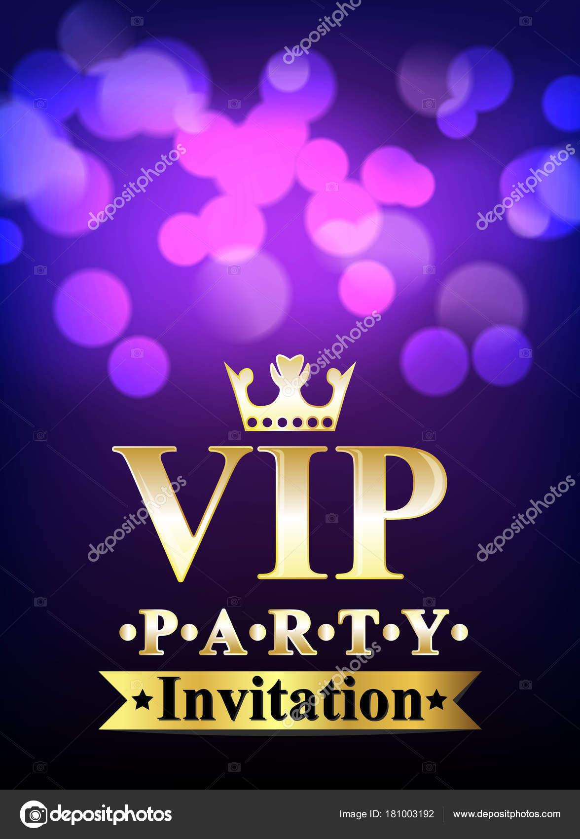 Tarjeta De La Invitación Vip Con Fondo Borroso Vector De