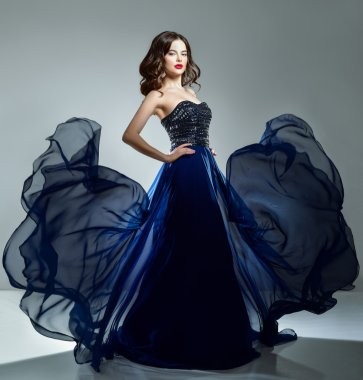 Woman in blue evening dress