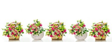 Beautiful bouquets of bright flowers