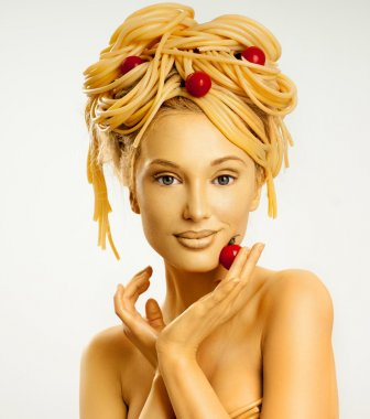 woman with a lot of pasta on head