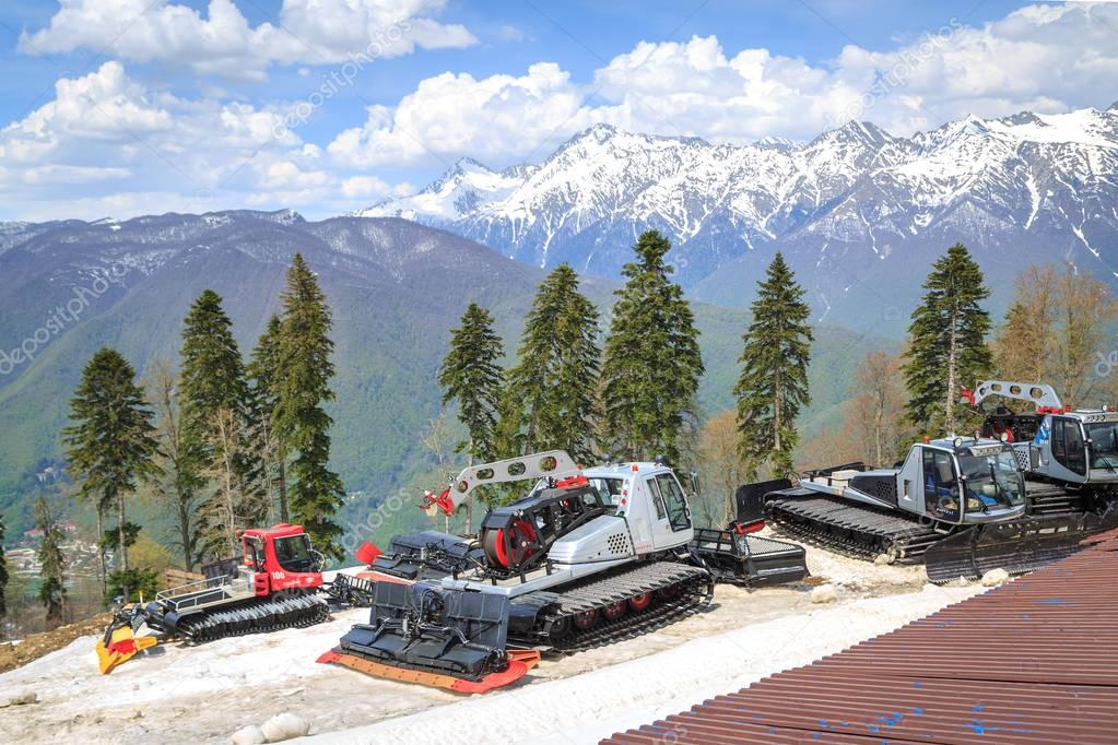 SOCHI, RUSSIA, 02 MAY 2017: Special machines for the preparation of ski runs on the background of mountains