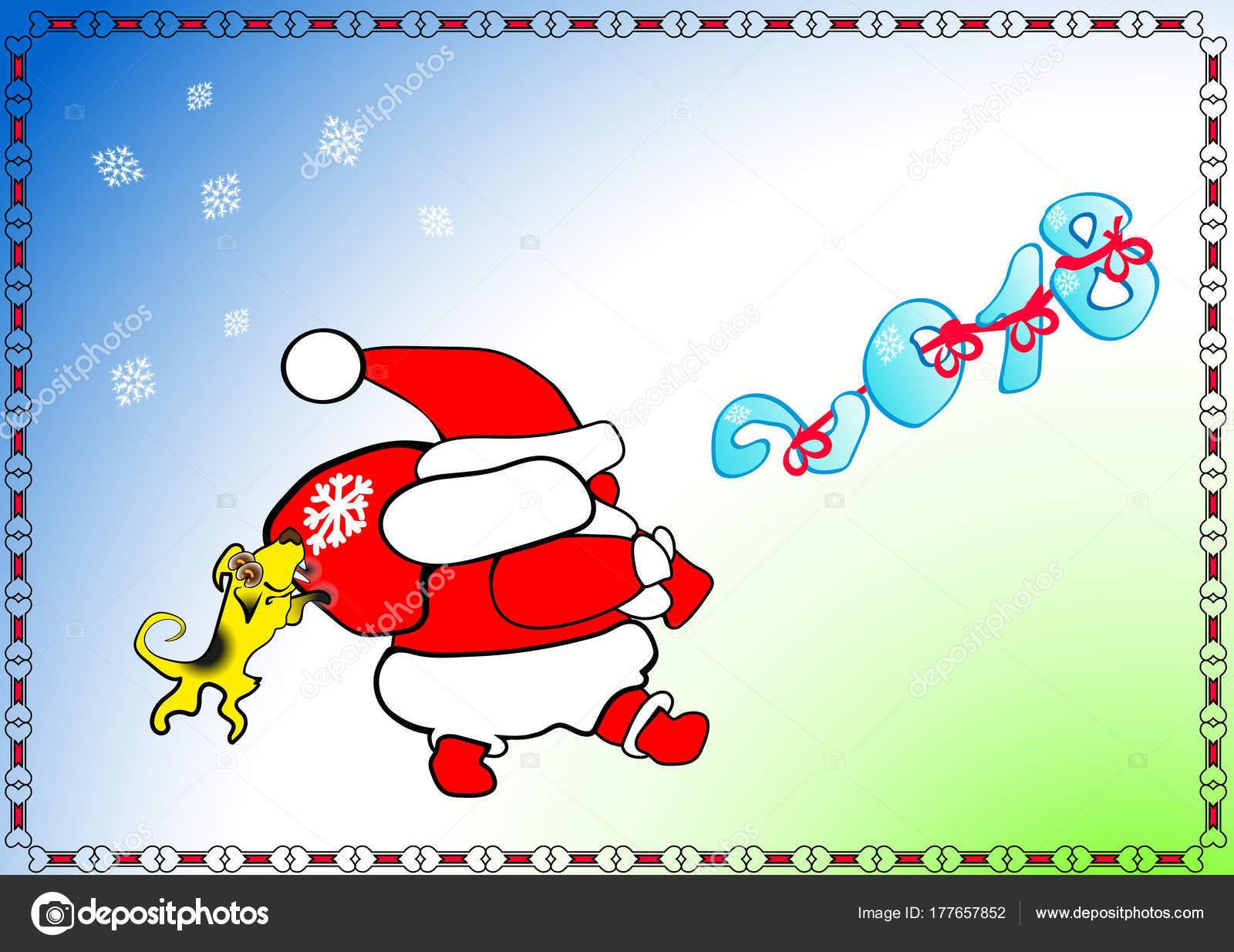Gelbe Karte Lustig.Neues Jahr Weihnachten Weihnachtsmann Geht Geschenke Trägt