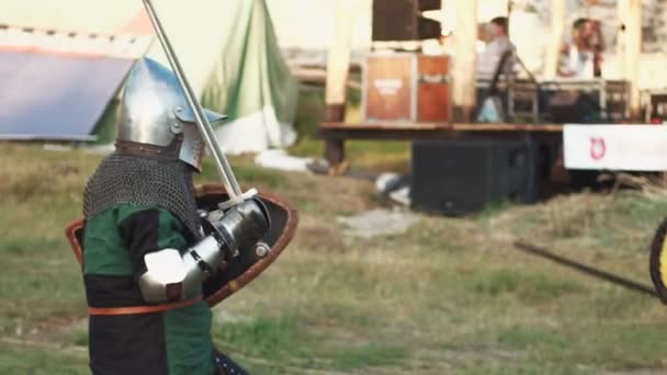 Battle between two medieval knights. Slowmotion