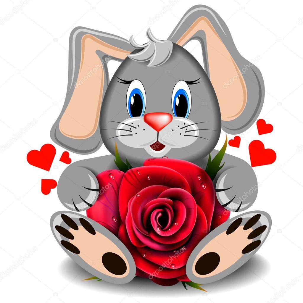 Картинки зайчиков с розами, лет совместной жизни