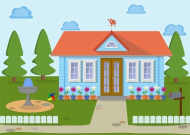 Family eco house on the nature with green lawn, trees fountain and flowers. Vector illustration.