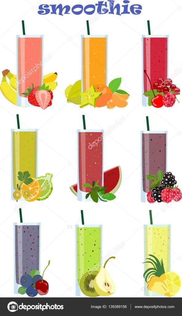 dibujos animados de coleccin de batidos de frutas en estilo plano ilustracin de vector u