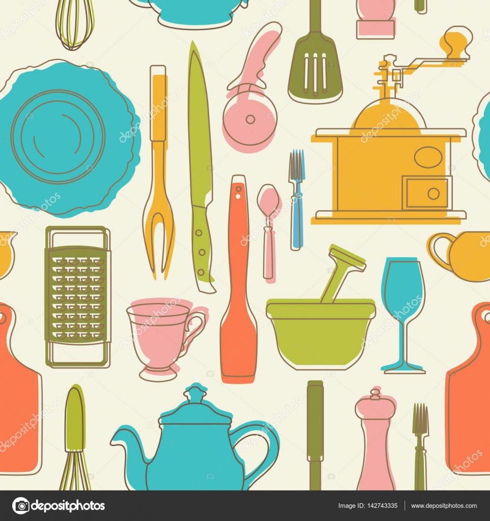 Seamless Pattern With Color Kitchen Utensils Vector