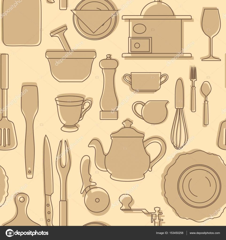 Satz von Silhouetten von Küchenutensilien. Vintage-Stil. Vektor ...